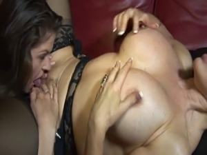 June Summers and Sexy Vanessa are licking each other on the couch and Vanessa...