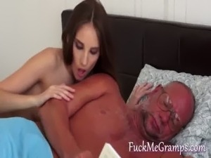 Playfull petite blows grandpa cock free