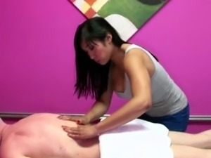 Asian masseuse in handjob threeway riding face