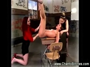 Dominatrix fists a bounded slaves butthole free