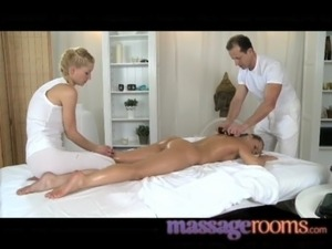 Massage Rooms Sexy Zuzana gets double attention in bisexual threesome free
