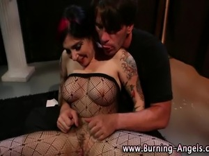 Stockings fetish emo goth loving slut gets herself off
