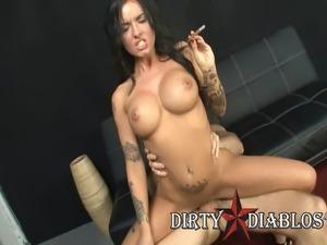 Pornstar Christy Mack Rides Big Cock While Smoking Cigar