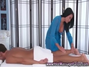 Sexy masseuse babe massages client free