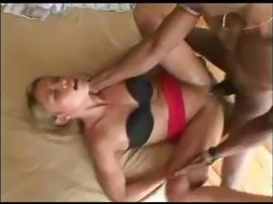 Blonde shows off outside and comes in to suck and fuck black cock