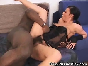 Hairy Pussy Babe Fucked By A Black Dude