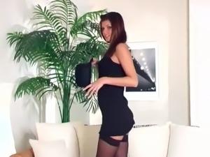 Teasing glamour babe in panties and stockings free