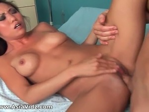 Ultra sexy Asian nurse with big round melons work her patients gigantic penis...