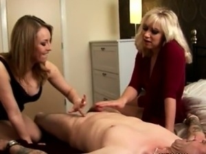 Euro CFNM MILFs toying with dick
