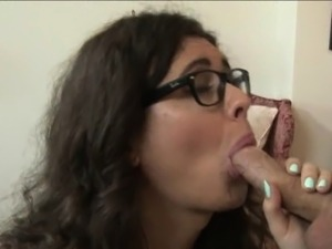 Nerd shemale in pantyhose gets her ass ripped by horny dude