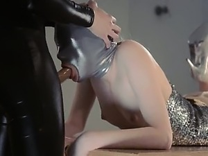 gentle strapon lesbians in mask playing