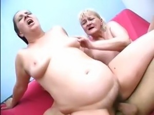 Fat grannies in a threesome where they suck and fuck hard cock