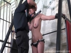 Slave Tayolor Hearts bound and gagged whipping with blonde debutant...