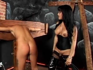 Sexy tranny Foxxy gets her tiny cock in leather licked