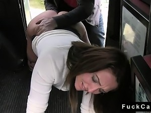 Brunette babe fucked on the floor in fake taxi
