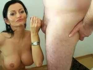 Big boobed mature sucks dick