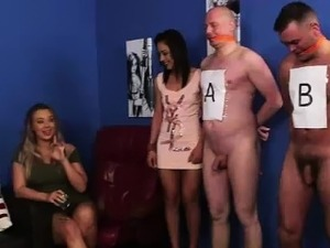 Amateur guys get handjobs from British CFNM babes
