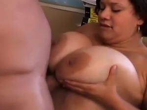 Busty fatty loves to get fucked from behind and the taste of cum
