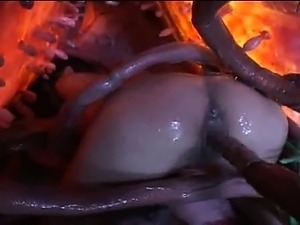 Sticky tentacles gangbang sexy asian girl