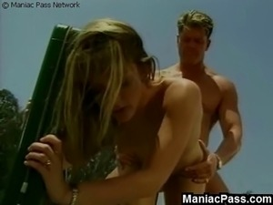 Sporty young blondie getting horny and seducing her tennis partner right on a...