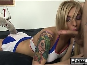 Cheerleading shemale Aubrey Kate anal pounded on the bed