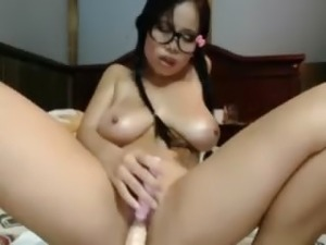 Busty asian babe toying live
