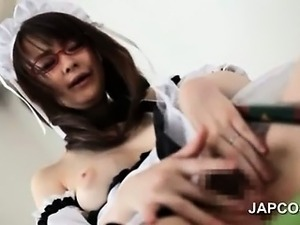 Sweet asian maid in glasses masturbates hairy pussy