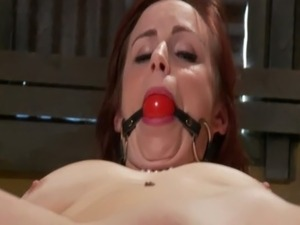 Tied up sub gagged and teased with toy from her master free
