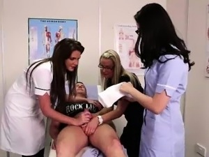 Naughty British nurses giving CFNM handjob in hospital sex