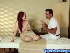 Massage loving redhead gives dicksuck to her masseur