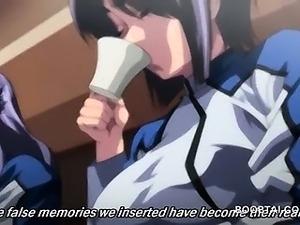 Bukkaked anime girl gets hardcore fucked in orgy