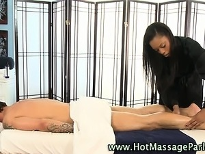 Sexy massuese babe and client