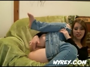 Sex hungry teen fingering pussy while her jeans on free