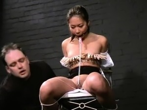 Asian slave Koko in tit tortures