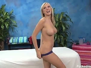 Cute 18 year old blond Britney B came into the massage