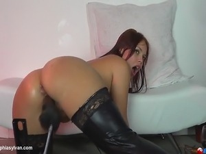 This machine fucks her mouth and then her pussy giving her a loud and...