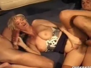 Big tits blonde mature threesome