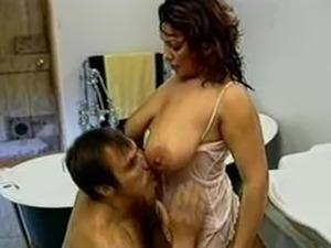 Busty Milf in Bathroom having sex