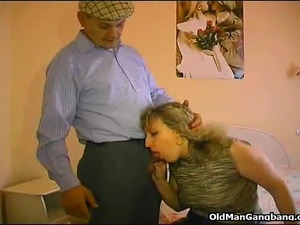 Old pervert Papy Voyeur shows top class doing a curly haired hottie and...