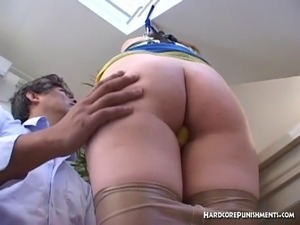 Oriental cheerleader in nylons tied up for sex games