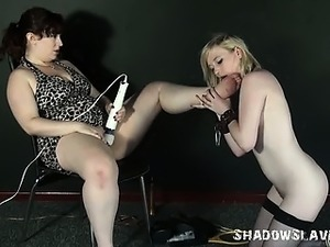 Lesbian feet licking and foot domination of lezdomme slave girl Satine Spark...