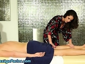 Massage parlor babe in lingerie