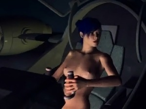 Blue haired 3D babe sucking on an alien\'s cock