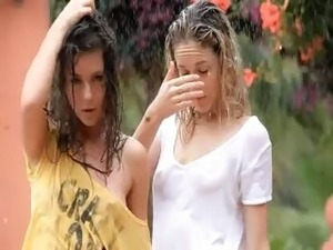 Beautiful teens in the rain