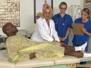 CFNM nurse Krissy Lynn in awesome group sex with her hot pals Amy Brooke and...