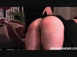 Classy chubby mature lesbian femdom spanking in stockings
