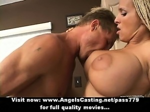 Badass naked amateur blonde fucked hard and rides cock in kitchen