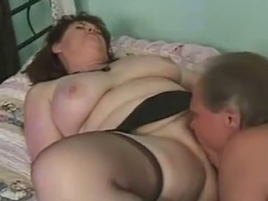 Hairy old BBW creampie by her husband