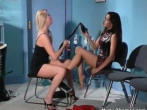 Sexy brunette lesbian gets horny part4