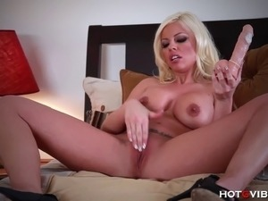 The ravishing Britney Amber easily pleasures herself with her HotGVibes and a...